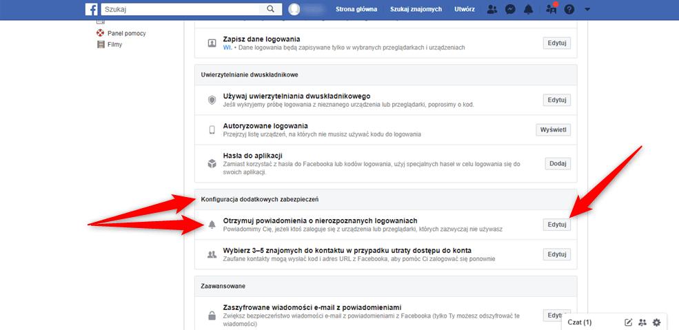 Poradnik jak aktywować powiadomienia o próbach logowania na nasze konto Facebook.