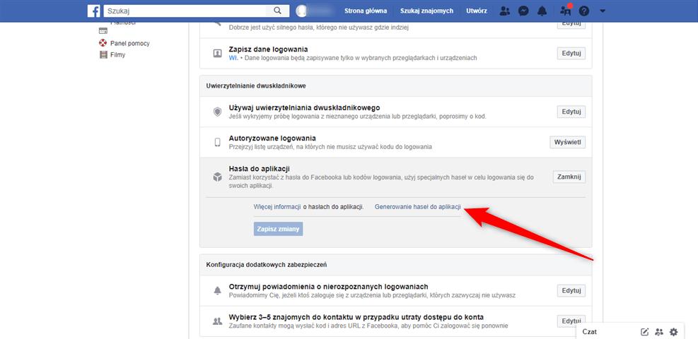 Funkcja generowania haseł do Facebooka.