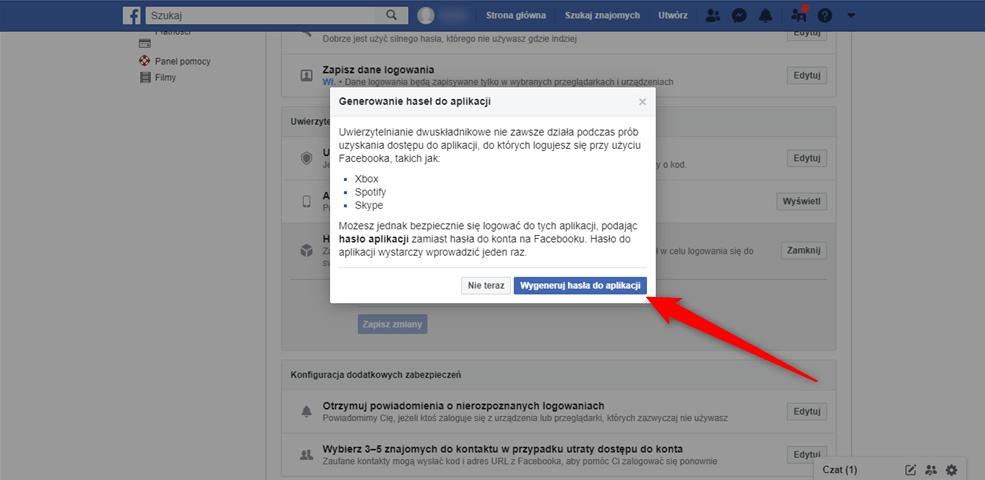 Poradnik jak wygenerować jednorazowe hasło do Facebooka.