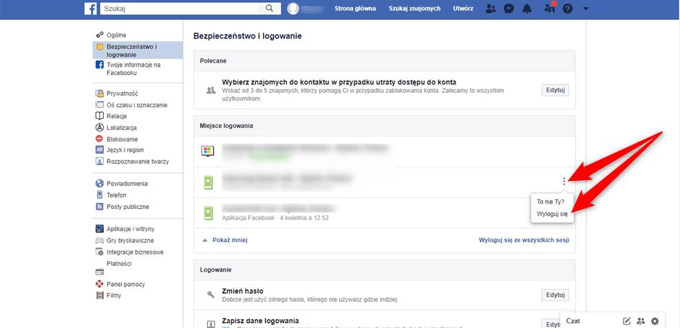 Gdzie mogę zdalnie wylogować się z Facebooka.
