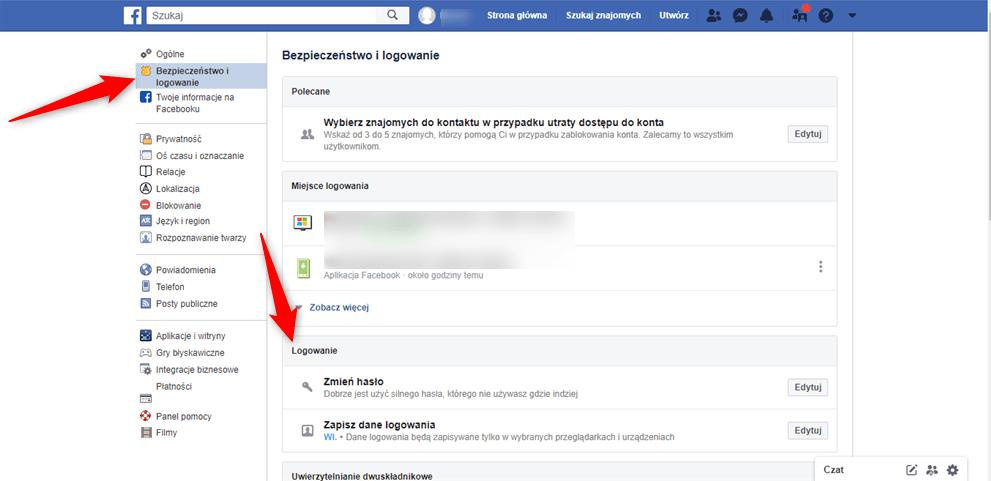 Zmiana hasła na Facebboku.