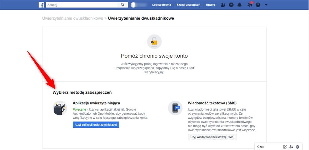 Autoryzowanie konta na Facebooku.