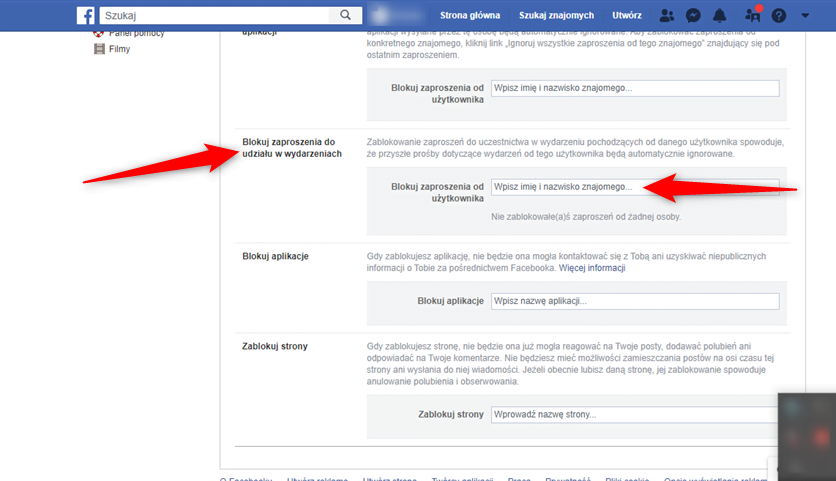Zablokuj zaproszenia na wydarzania z Facebooka.