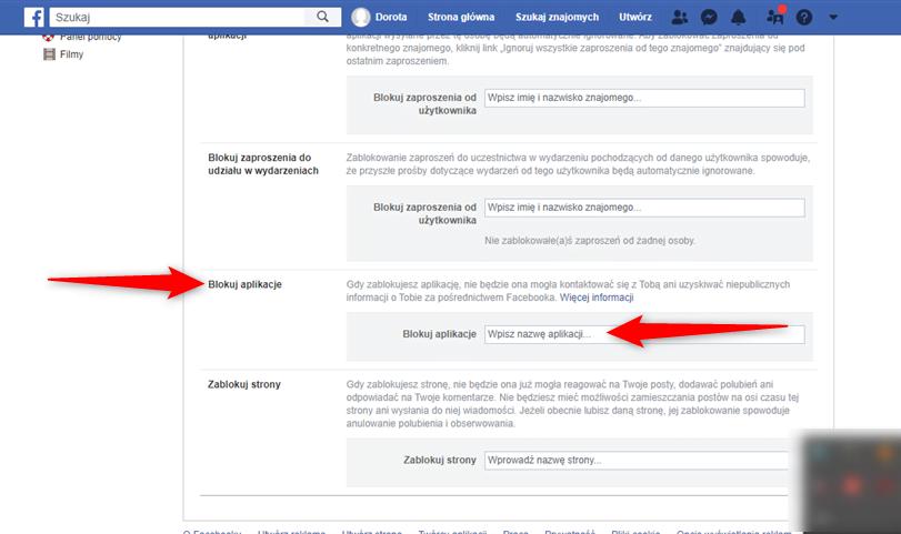 Funkcja blokowania aplikacji na Facebooku.