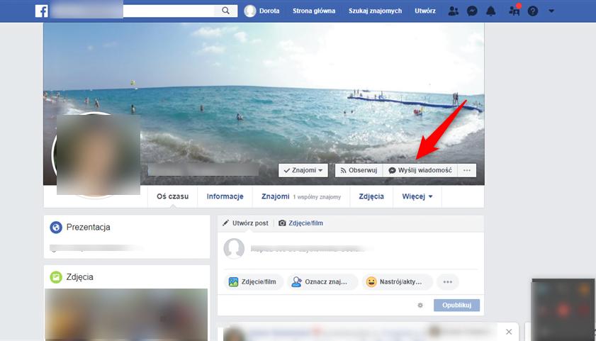 Blokowanie wiadomości na Facebooku.