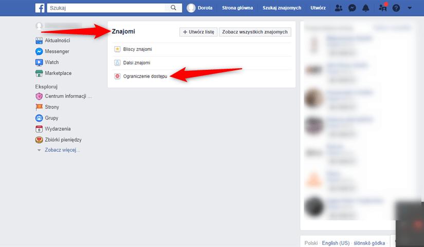 Facebook - funkcja ograniczania dostępu.