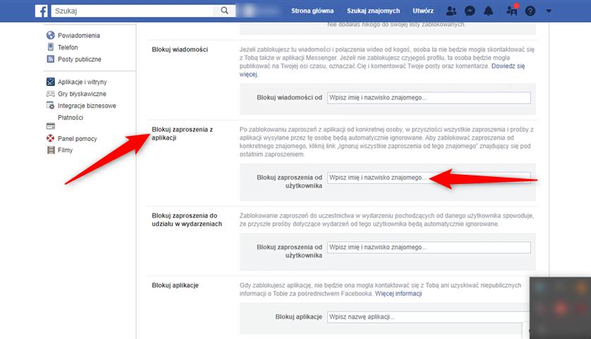 Instrukcja jak zablokować zaproszenia z aplikacji na Facebooku.
