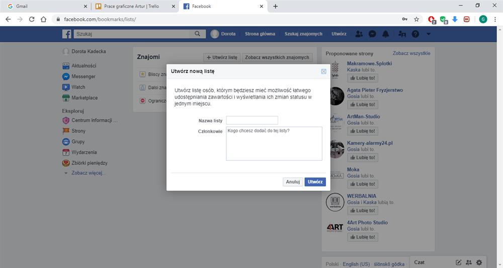 Instrukcja jak tworzyć listy znajomych na Facebooku.