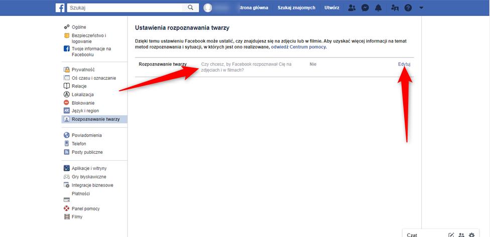 Wyłącznie funciki rozpoznawania twarzy na portalu Facebook.