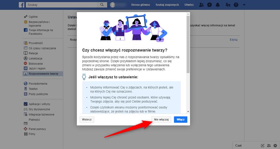 Jak wyłączyć funkcje rozpoznawania twarzy na portalu Facebook.