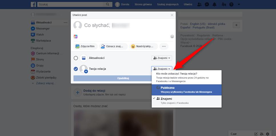 Wybieranie kto może obejrzeć naszą relację na Facebooku.