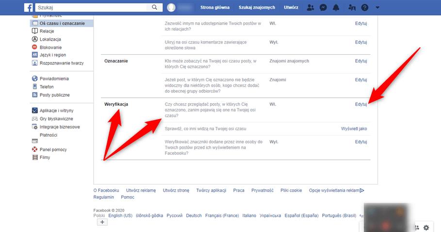 Weryfikacja oznaczeń na postach z Facebooka.
