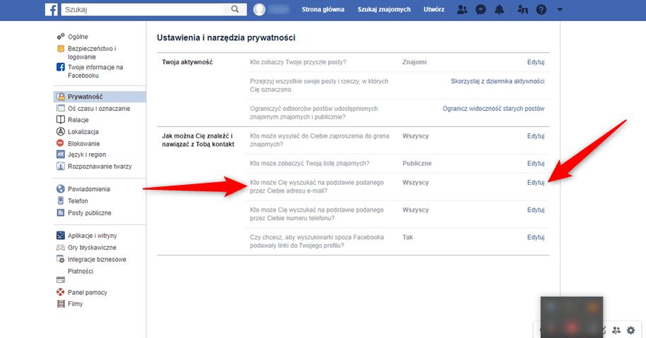 Jak zablokować wyszukiwanie profilu Facebook poprzez adres email?