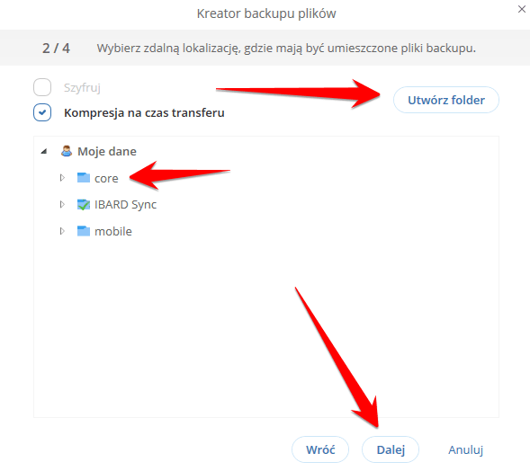 Jak stworzyć folder do backupu w aplikacji IBARD?