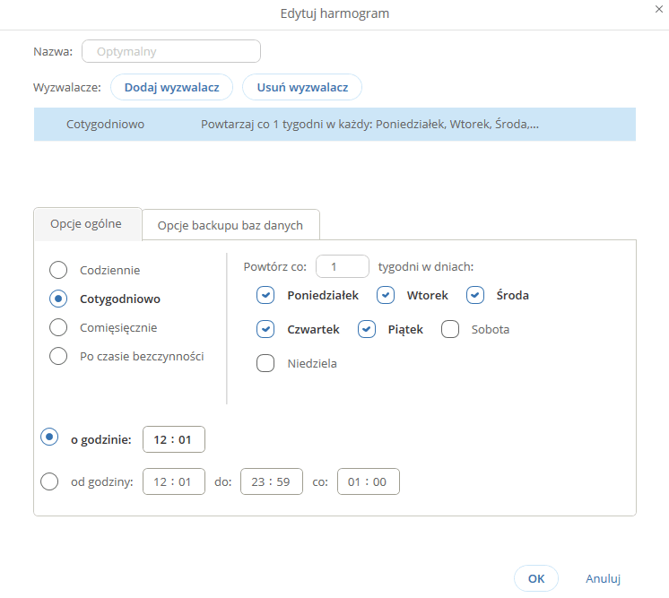 Jak ustawić częstotliwość wykonywania backupu w aplikacji IBARD?