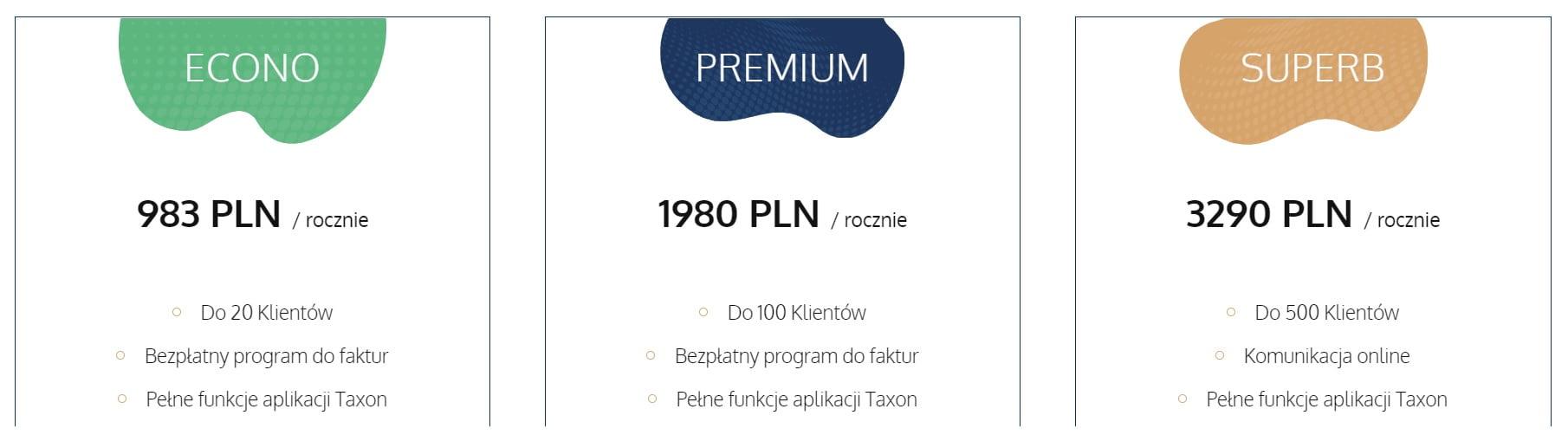 Cennik usług TAXON dla biur rachunkowych.