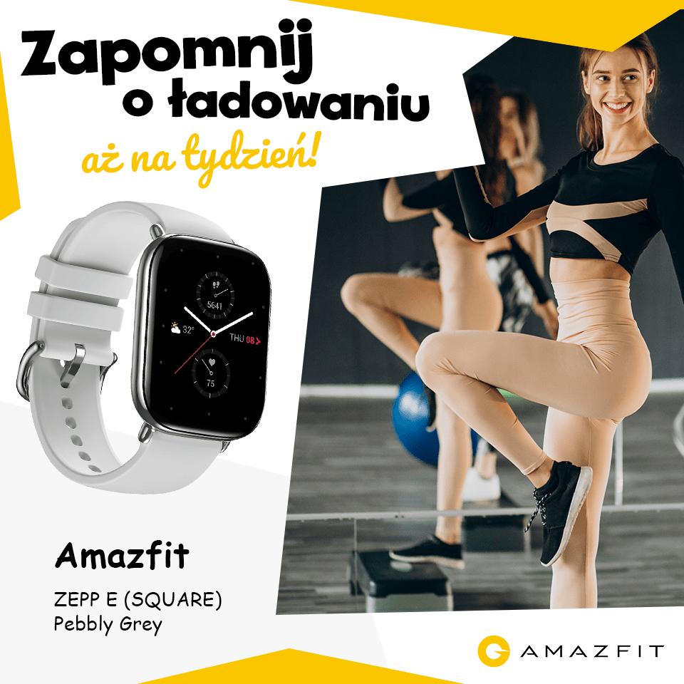 Smartwatch Amzazfit ZEPP E (SQUARE) w kształcie prostokąta.