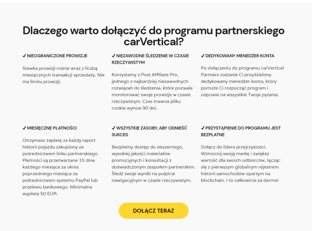 Program afiliacyjny branży motoryzacyjnej carVerical.